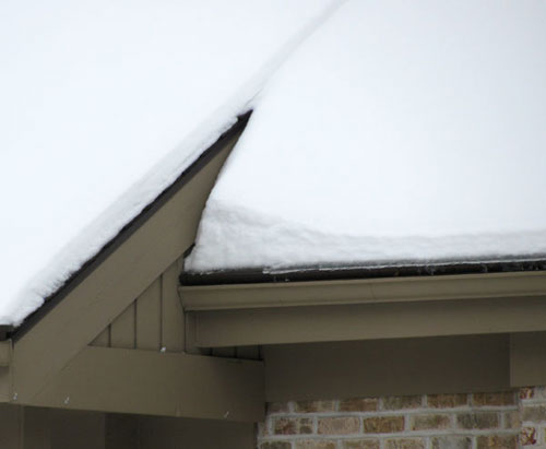 Snow build up shows the strength of Gutter Topper.
